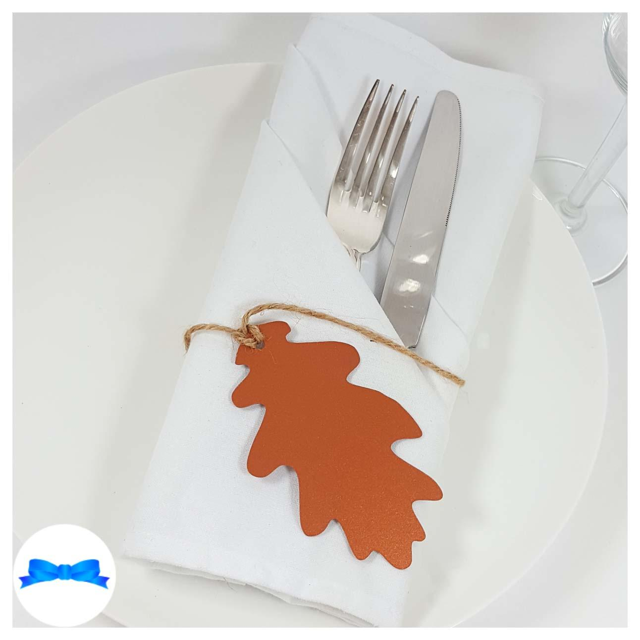 Copper oak leaf tag