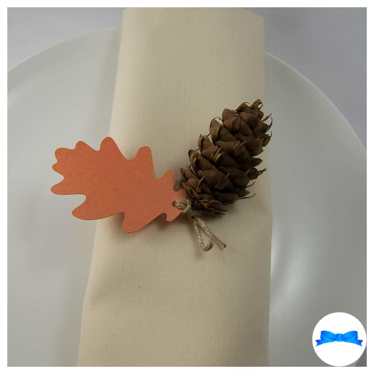 Burnt orange oak leaves - Tag with pine cone