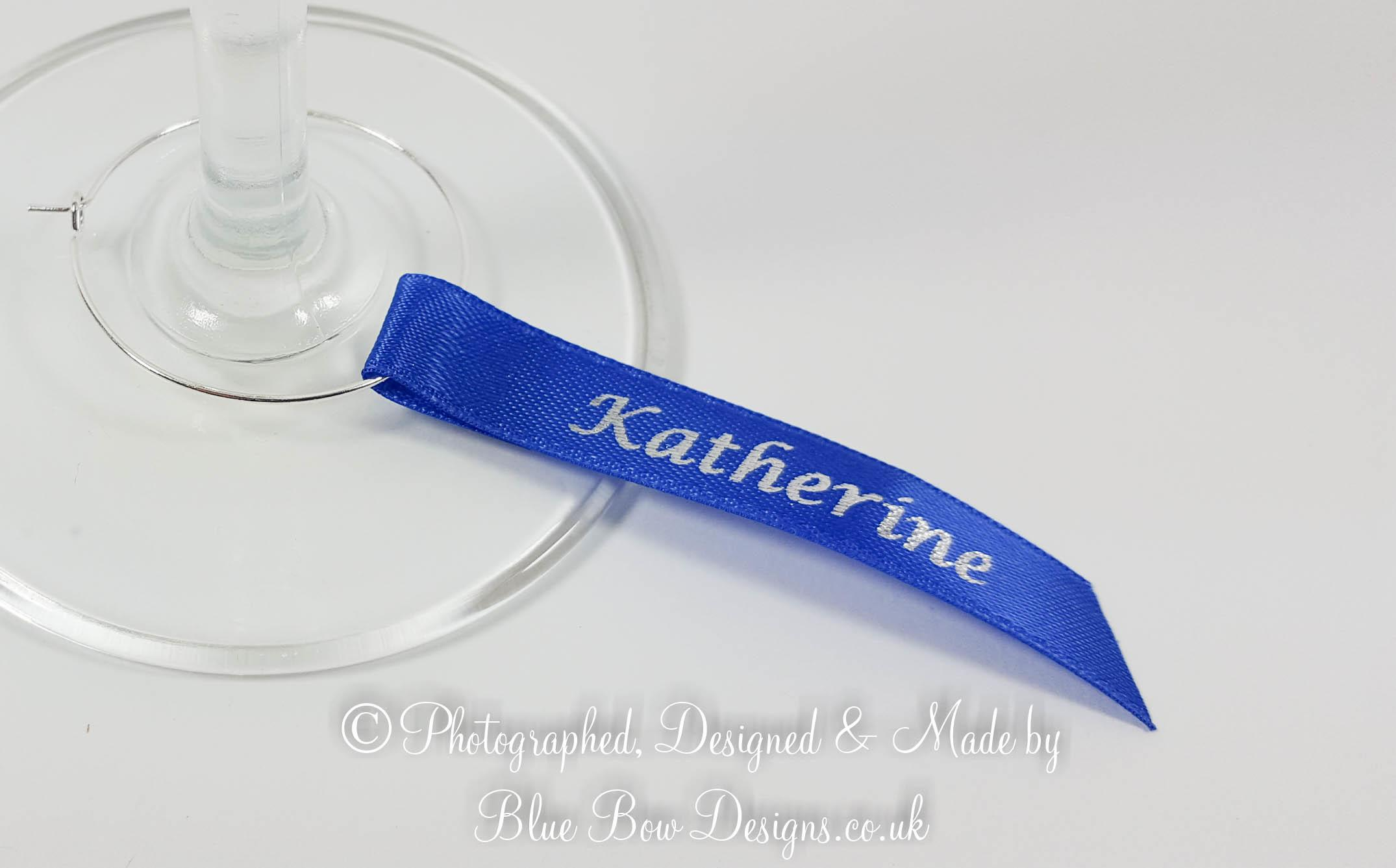 Royal blue and silver wine glass charm guest name ribbon