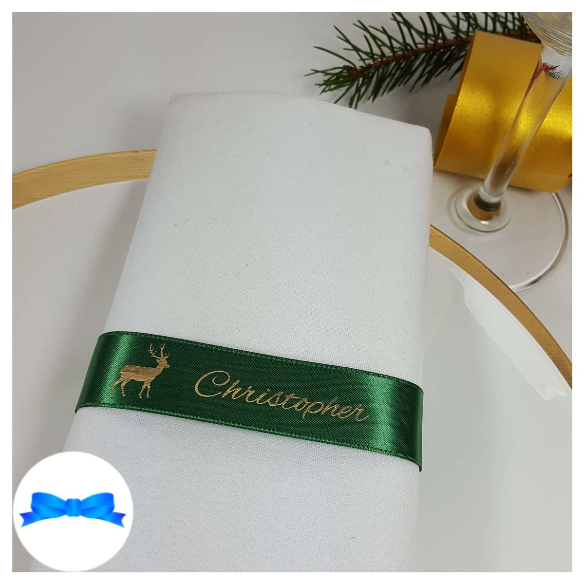 Christmas Emerald and gold napkin guest name ribbon
