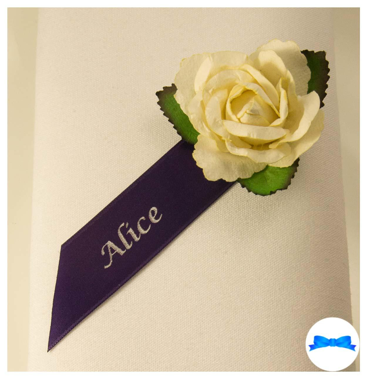 Personalised guest name rose. Regal purple ribbon