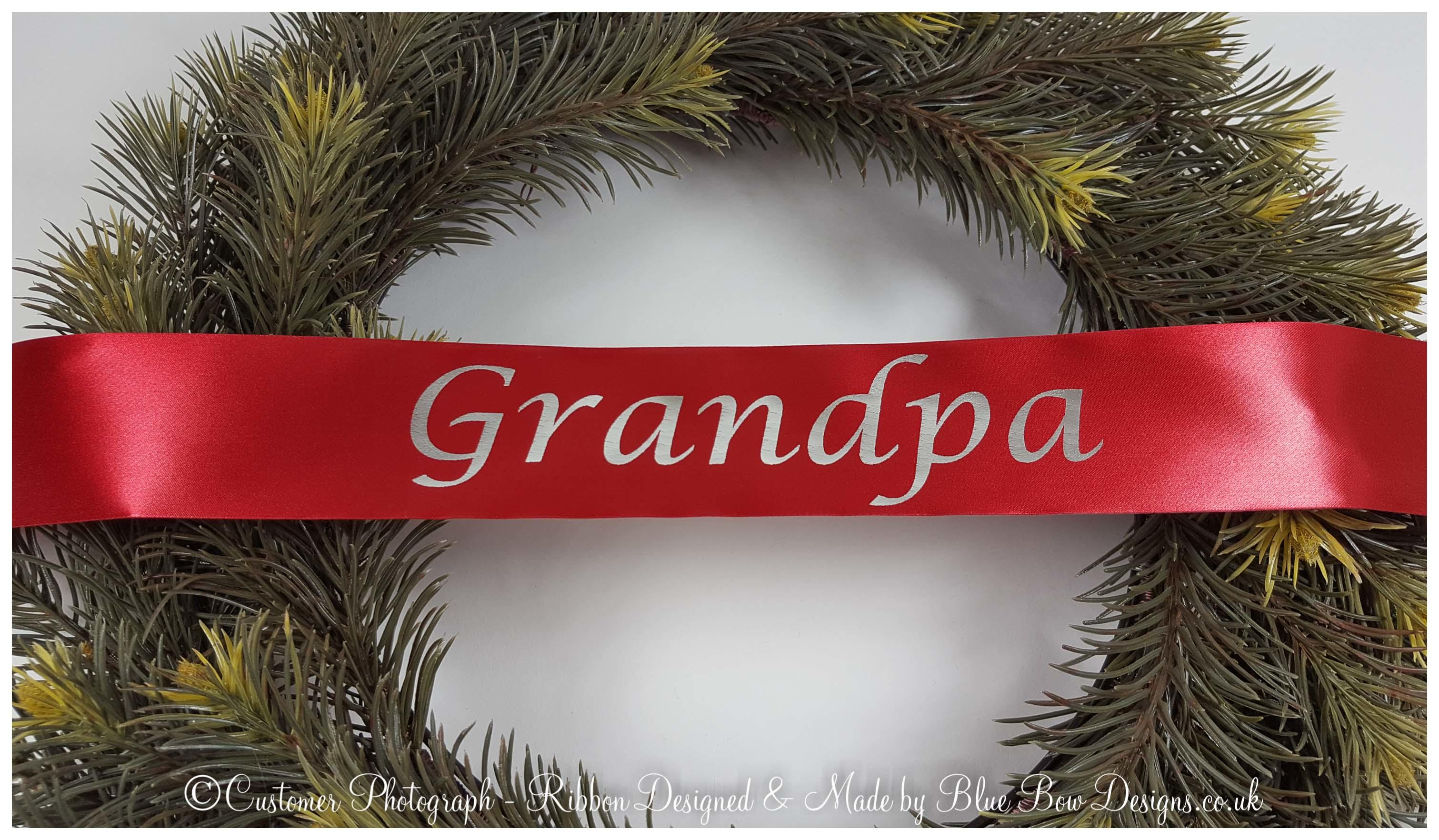 Red and silver grandpa wreath ribbon