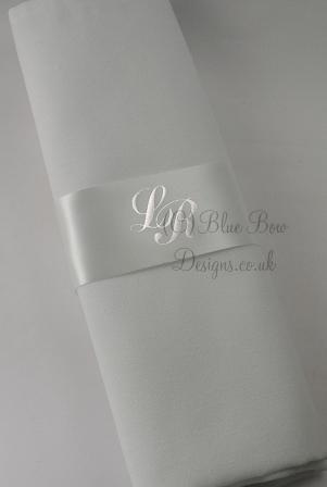 Personalised Ivory Monogrammed Napkin Ring ribbons