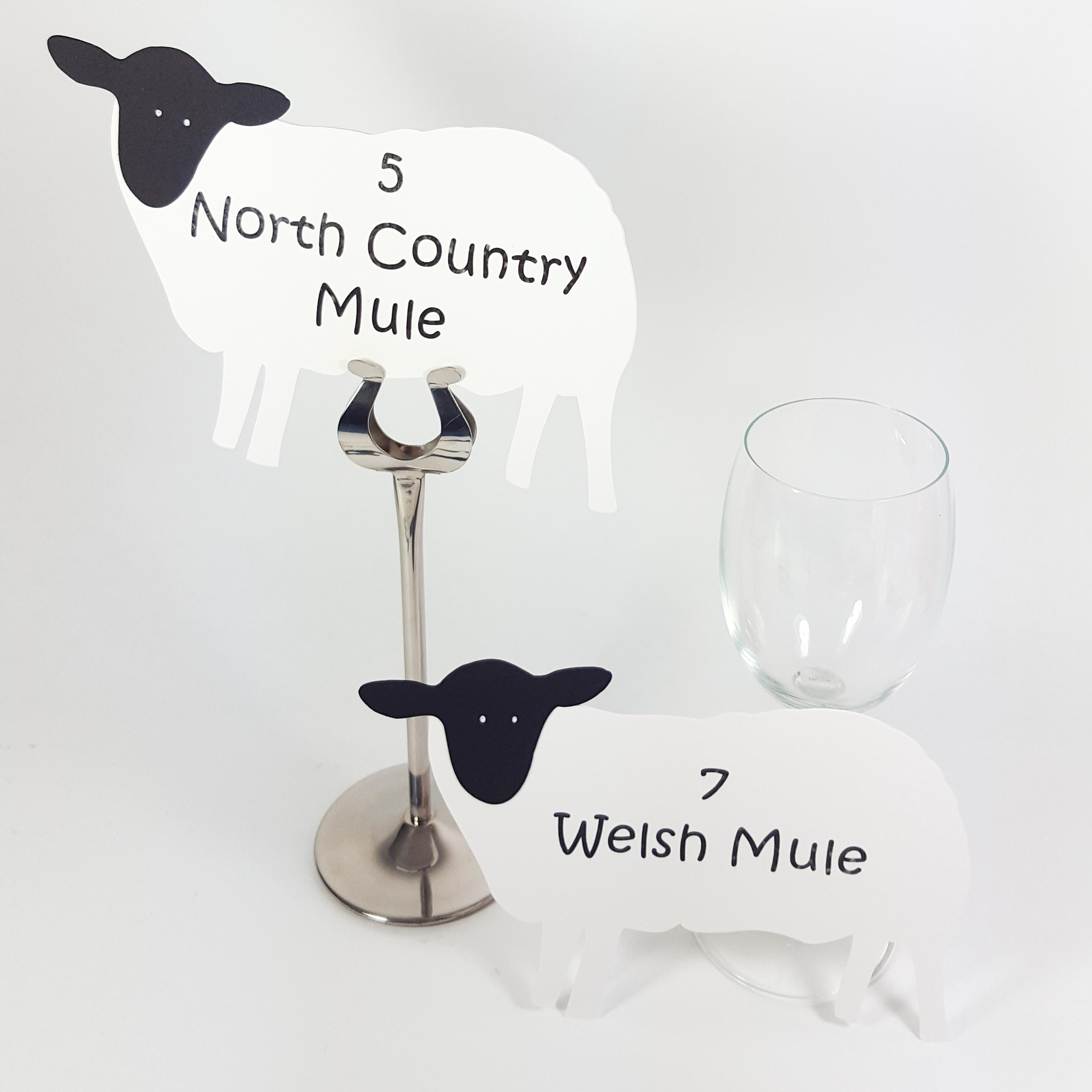 Sheep shaped table names and numbers