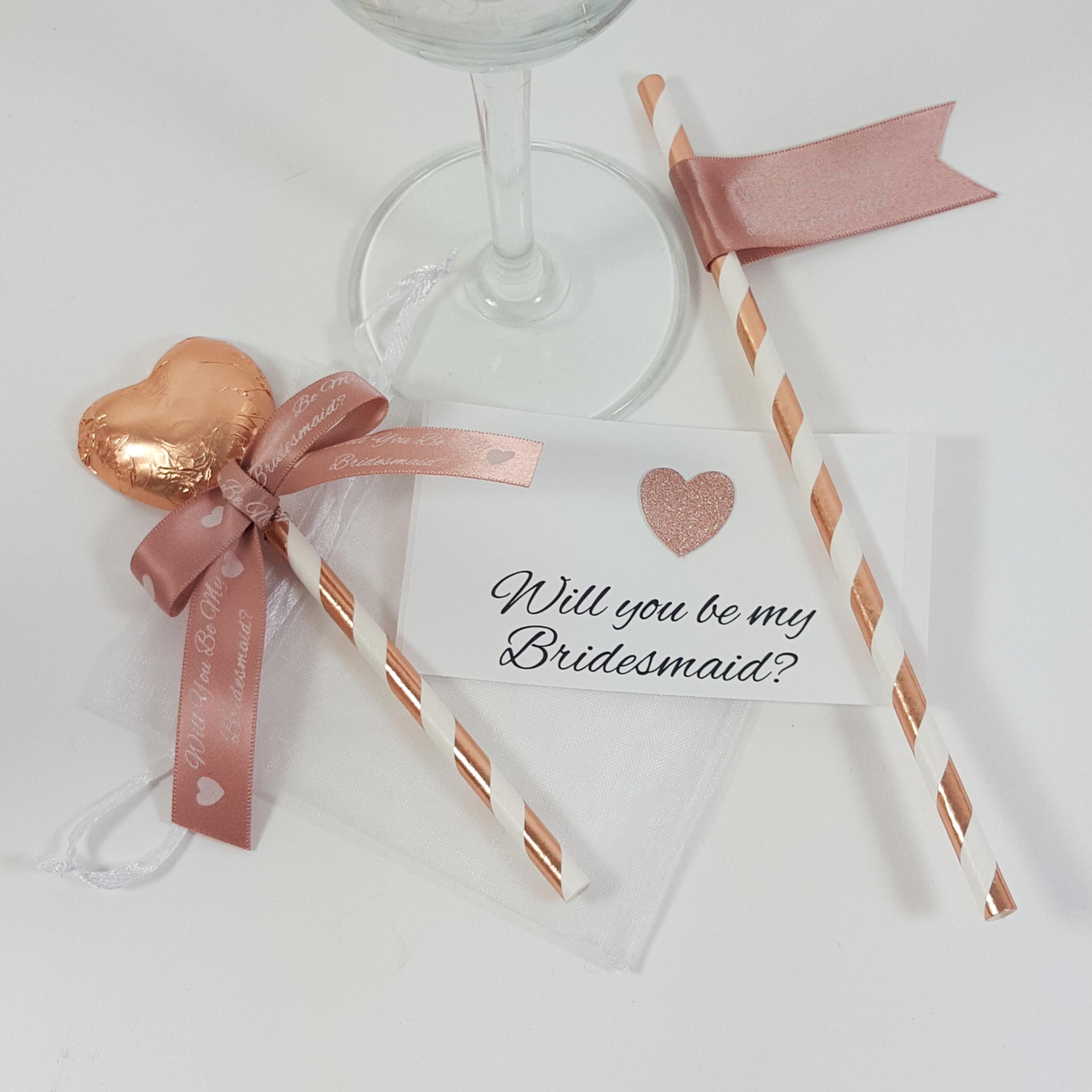 Will you be my bridesmaid rose gold mini wine bottle gift set option