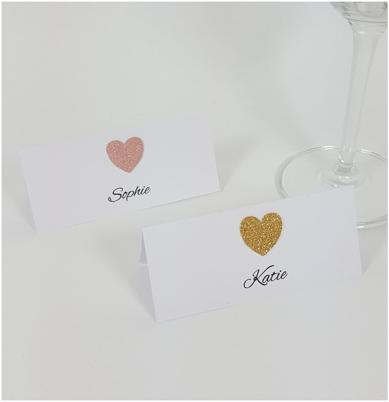 Glitter heart place card
