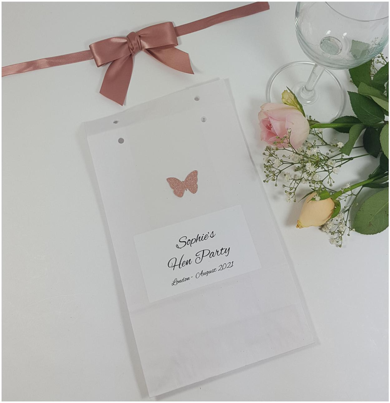 Personalised hen party bags butterfly