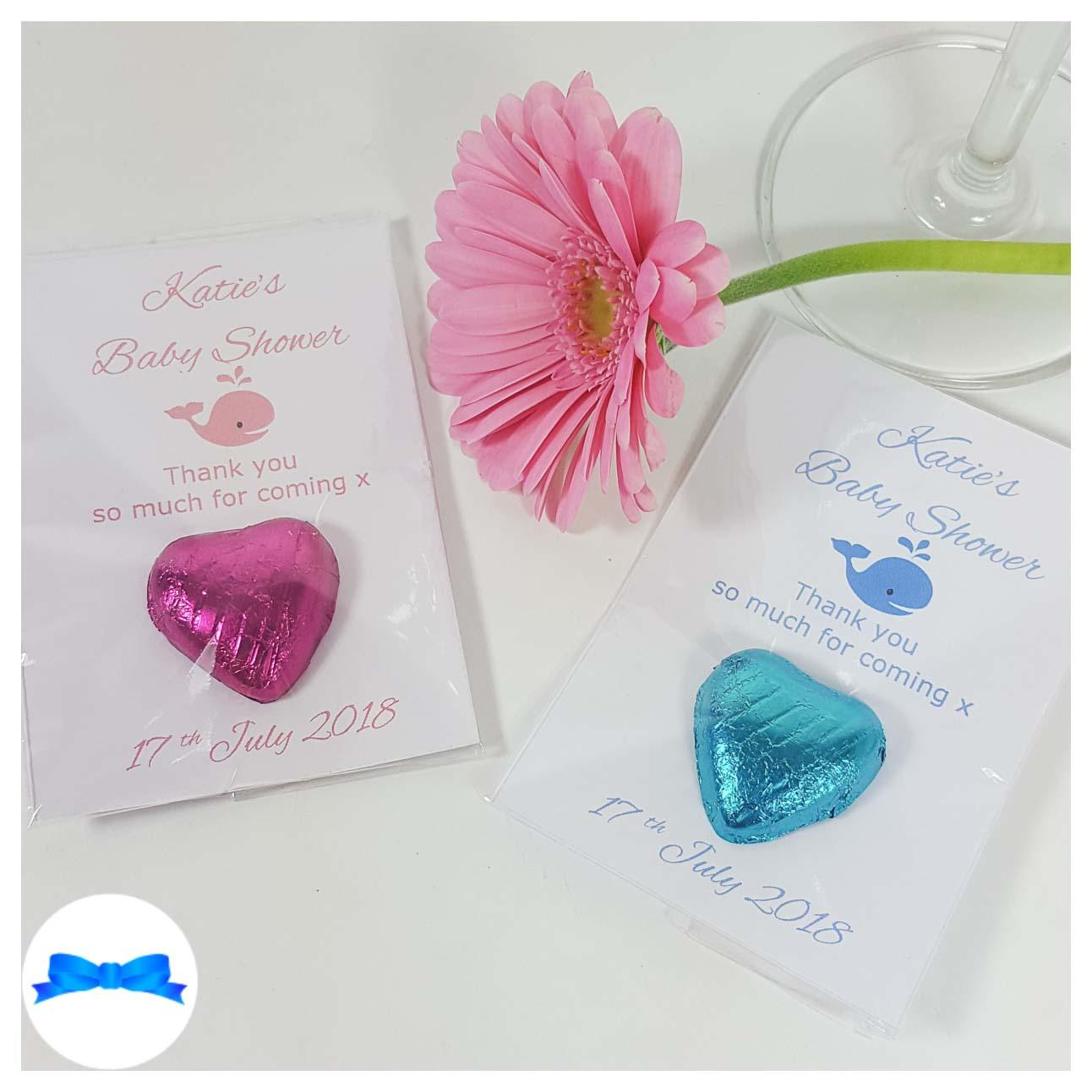 Baby shower chocolate heart favours with pink and blue whales