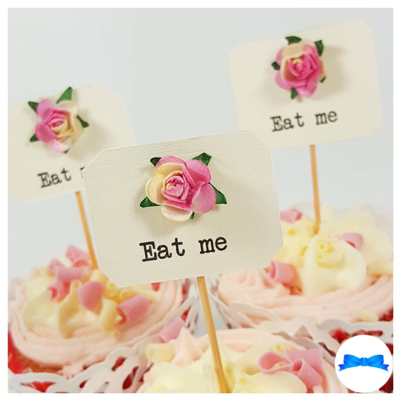 Eat me Hen party cupcake toppers with pink and cream roses