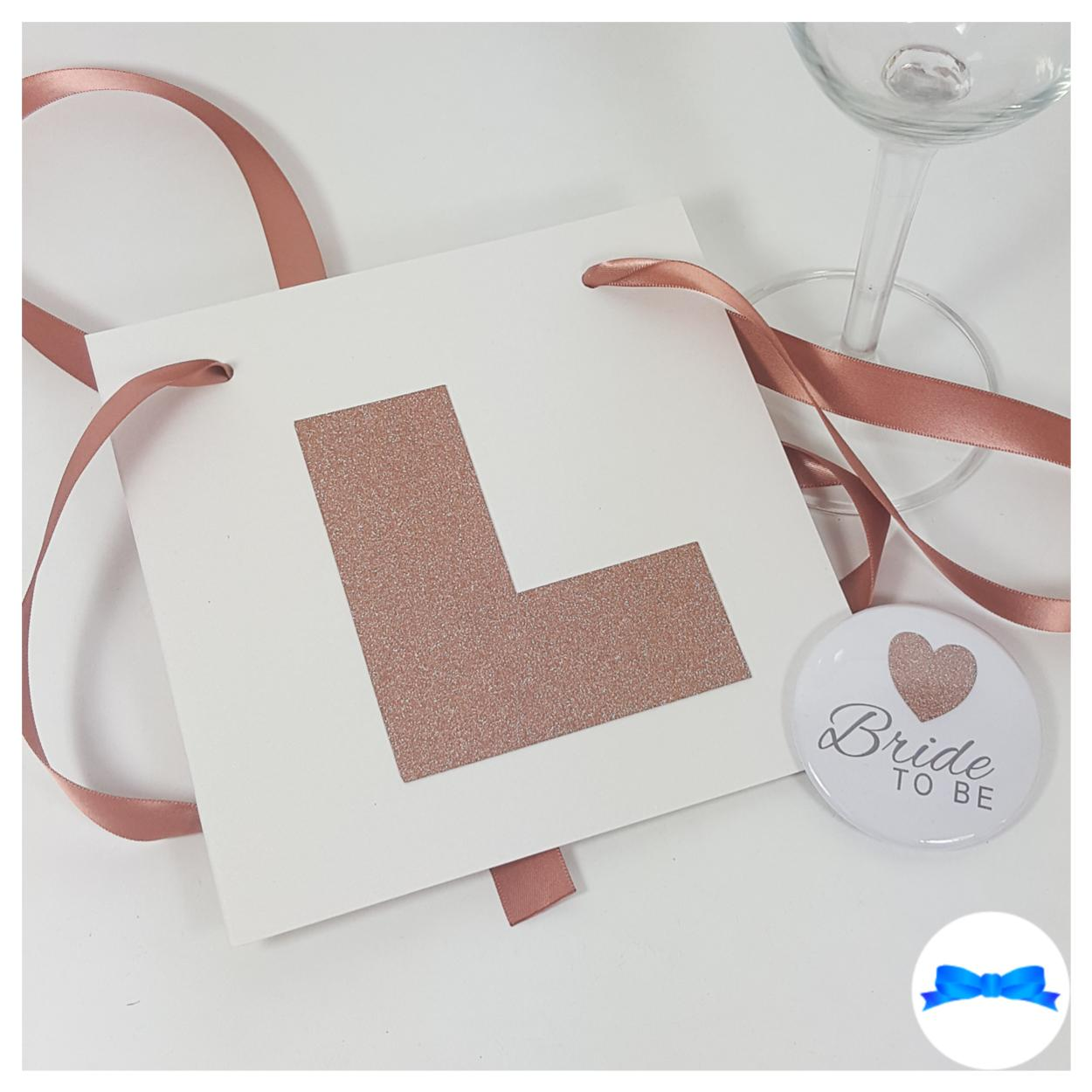 Rose gold hen party L plate with rose gold glitter