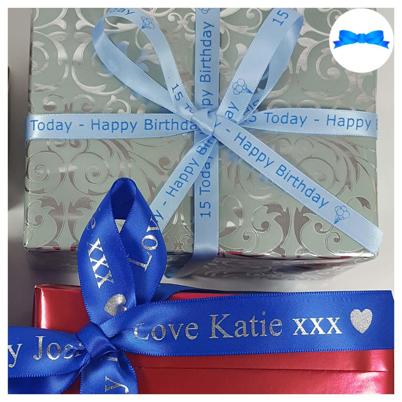 Blue personalised ribbon on gifts