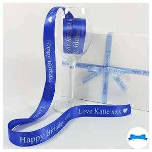 Blue 25 mm personalised ribbon