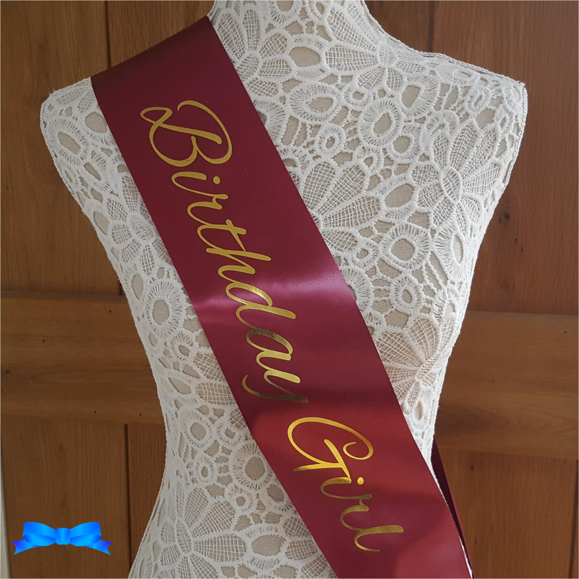 Birthday girl burgundy and gold sash