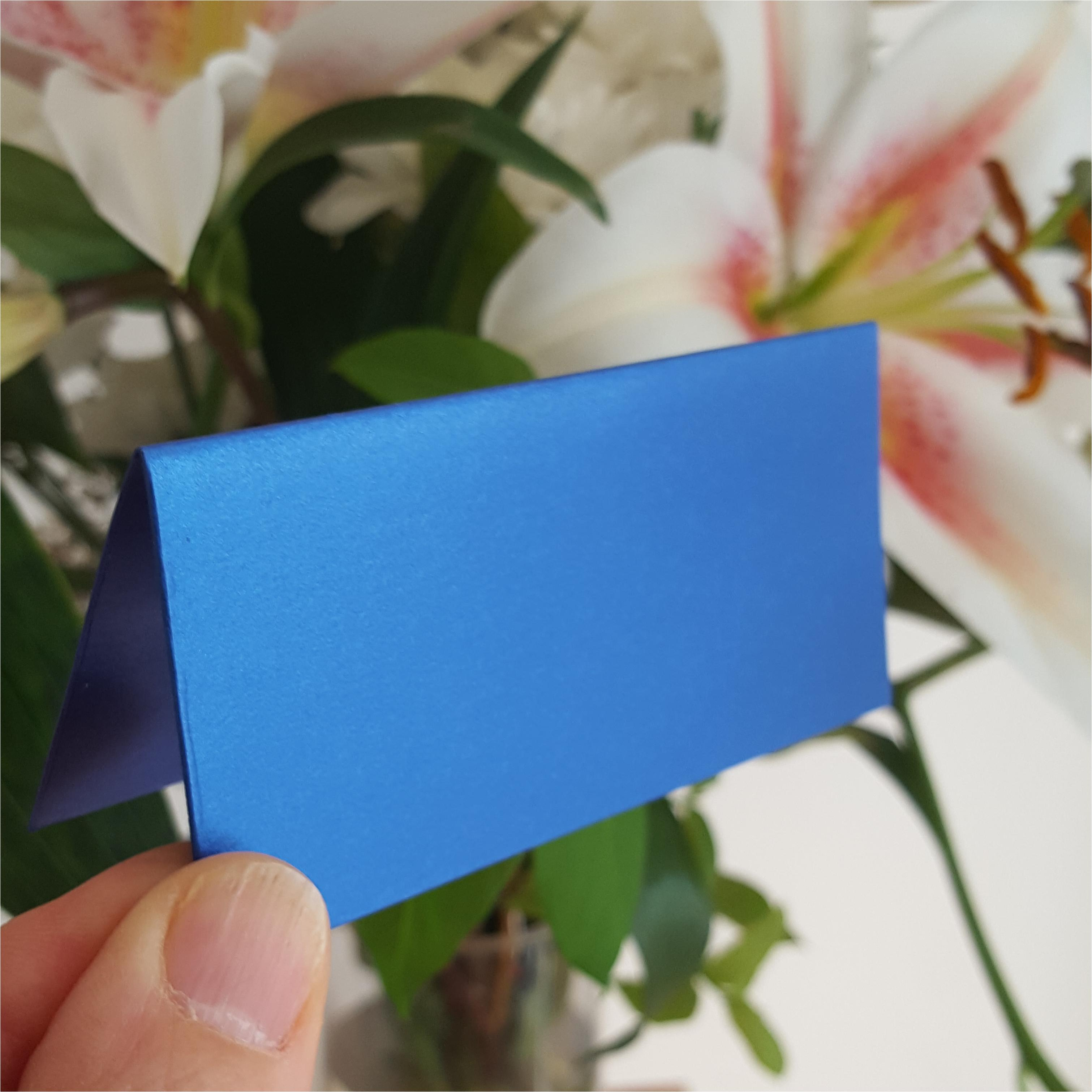 large Royal blue place card Pearlescent card