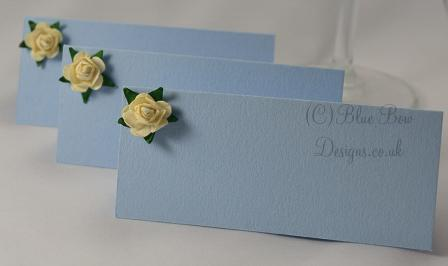 Paper tea rose place cards