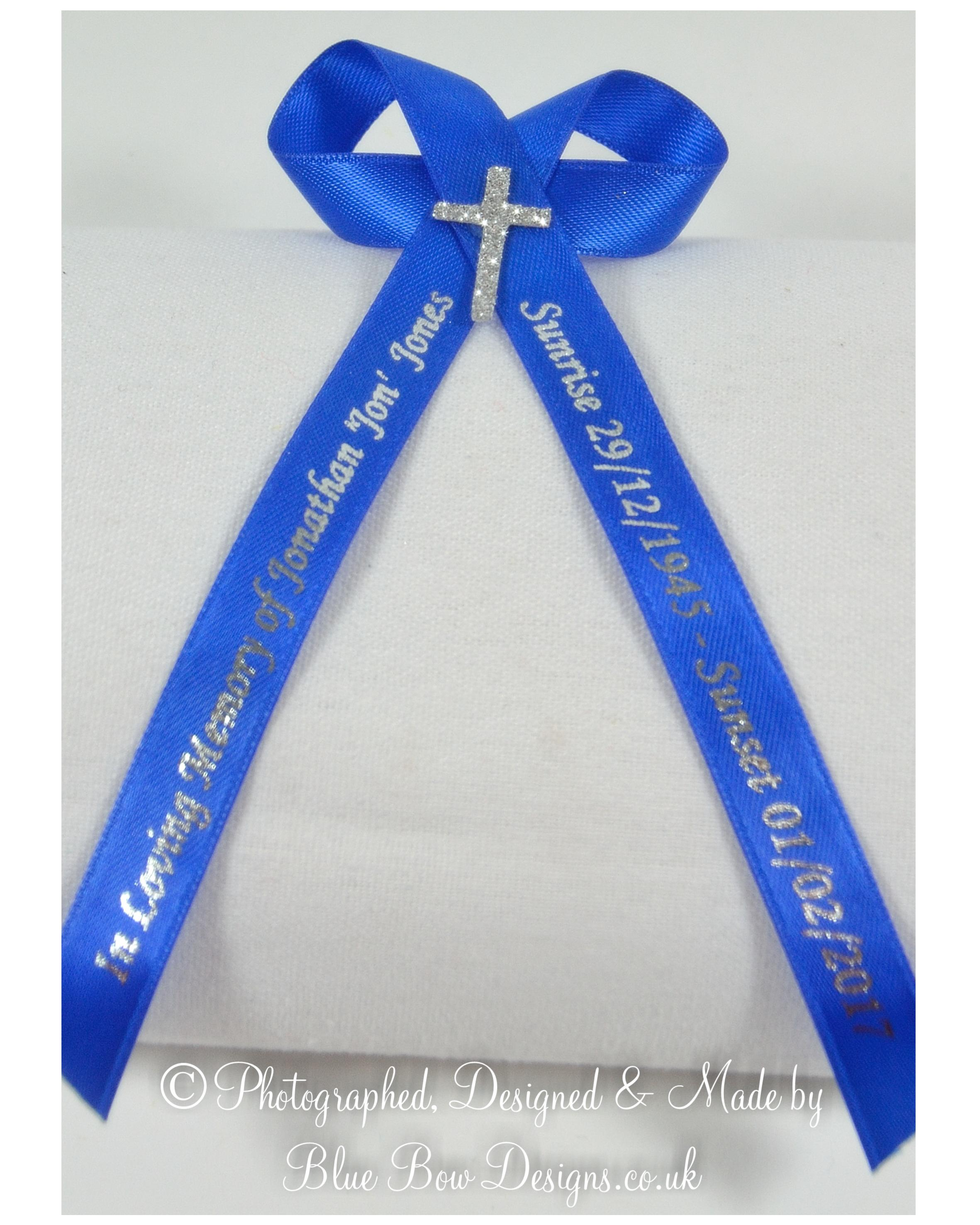 Royal blue memorial ribbon with silver cross