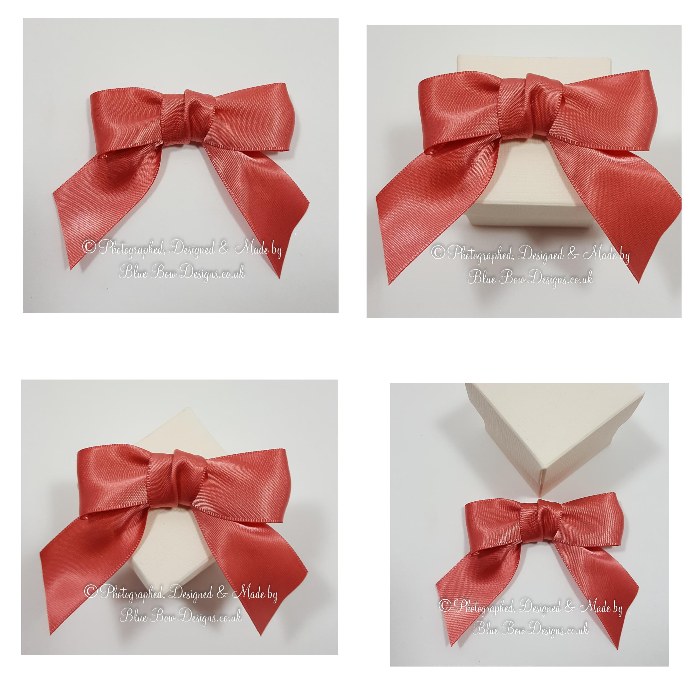 25 mm coral ribbon pre tied bows