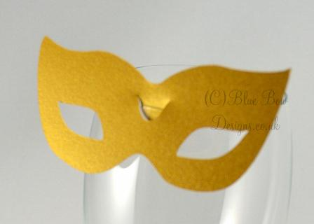 Gold 'Venice' No 6 mask for wine glass card.  place card for wine glass masquerade