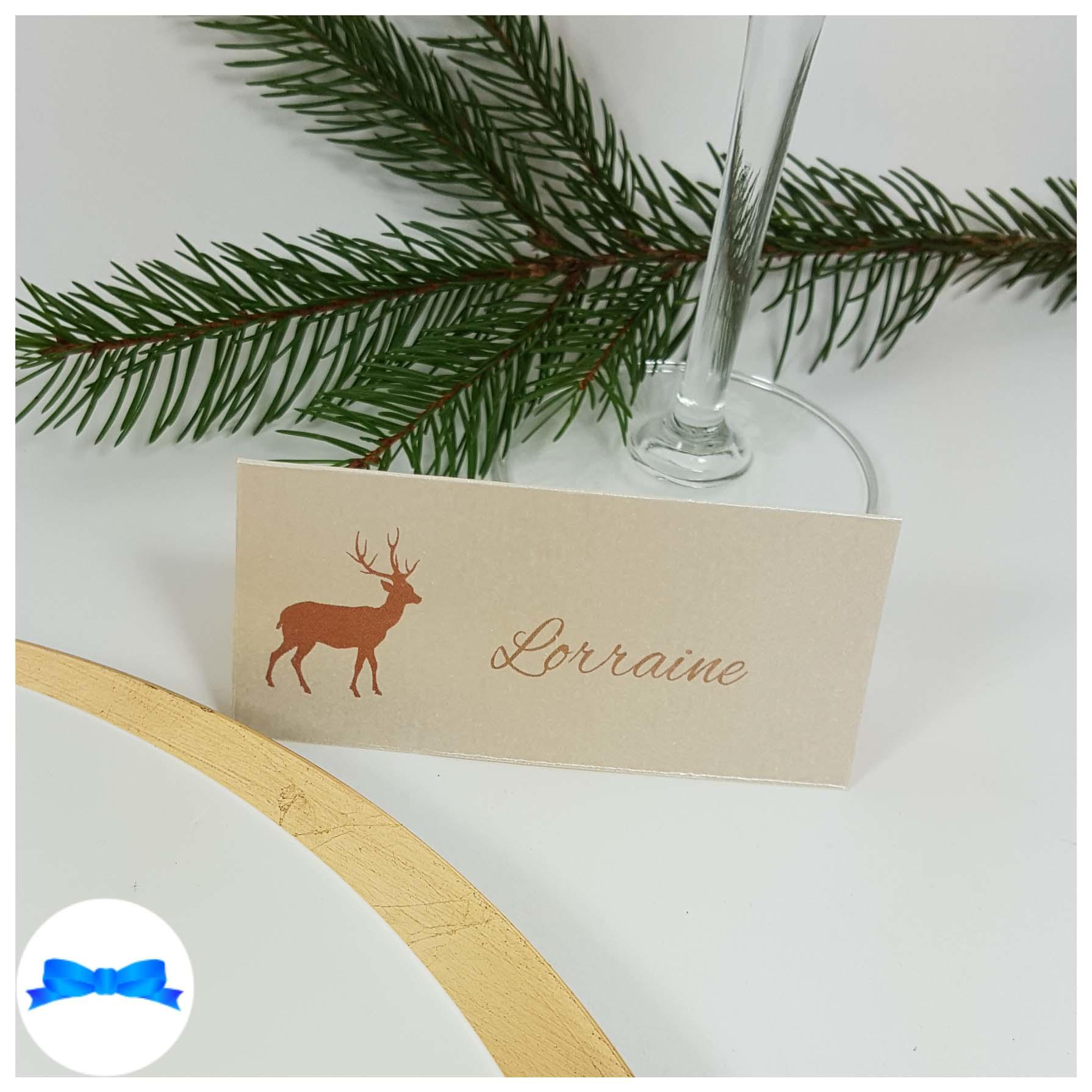 Ivory reindeer place card