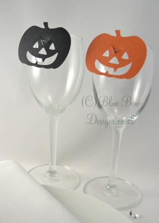 Black and orange Pumpkin wine glass place card