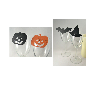 Pumpkin, witches hat and bat place card
