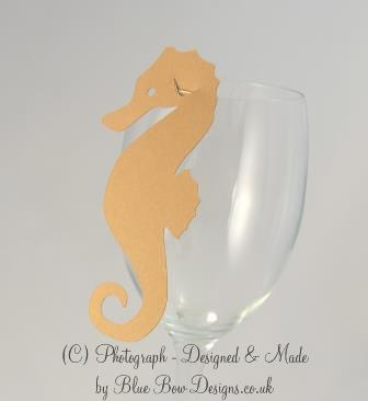 Kraft brown seahorse wine glass place card