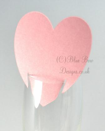 Pink Heart shaped wine glass card