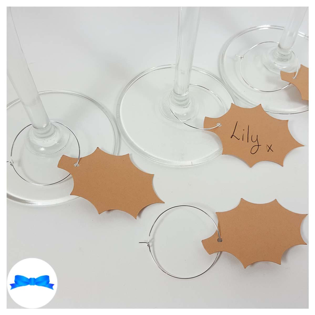 Card Holly leaf wine glass charm