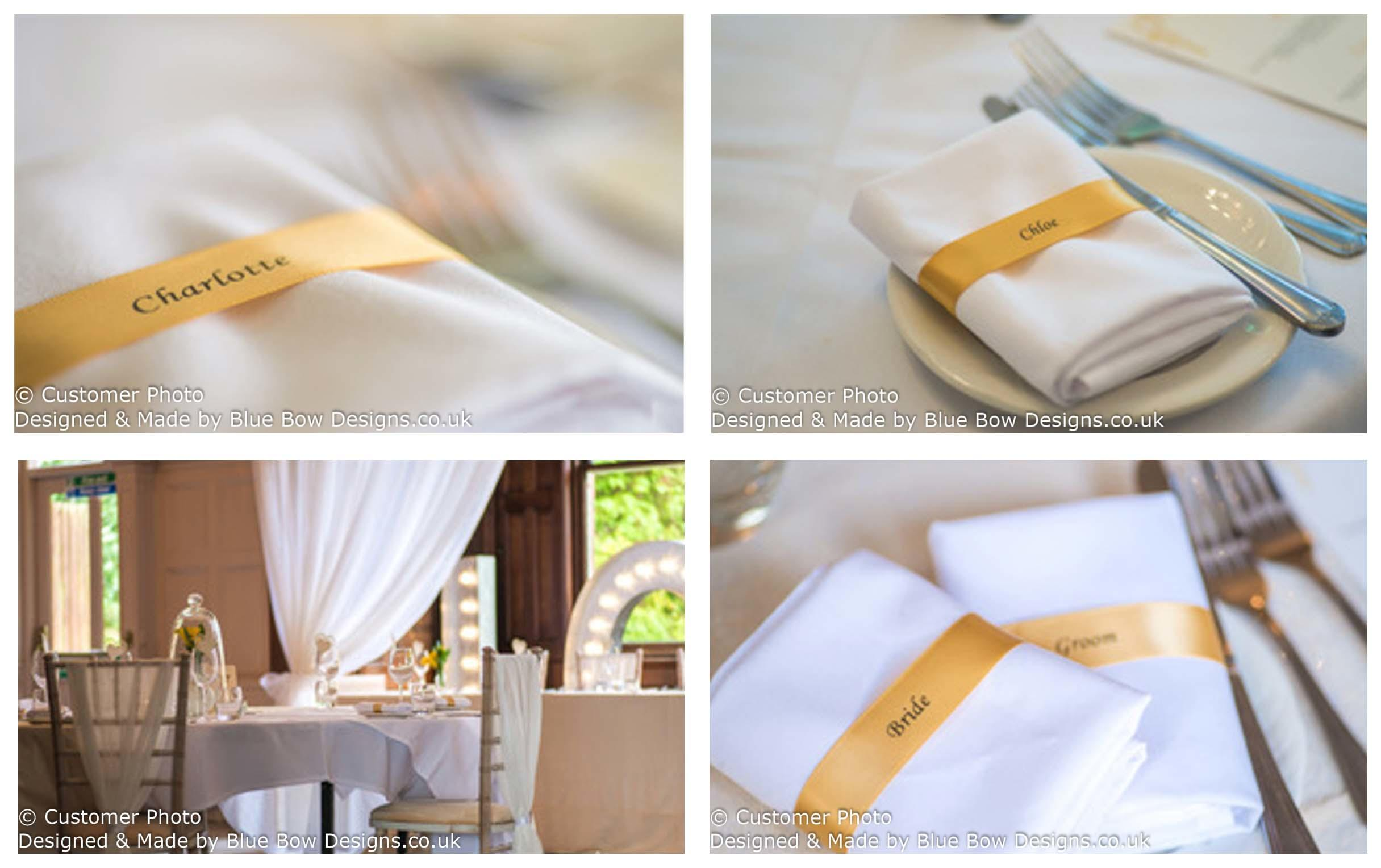 Gold napkin guest name ribbons
