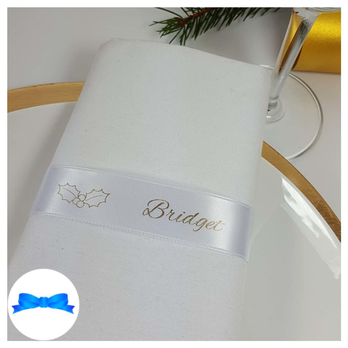 White and gold napkin guest name ribbon