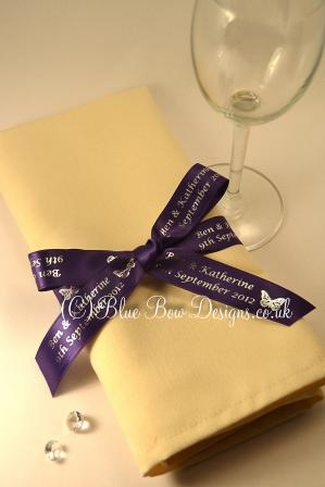 Purple and silver printed ribbon
