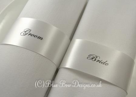 Ivory 45mm guest name napkin ribbons
