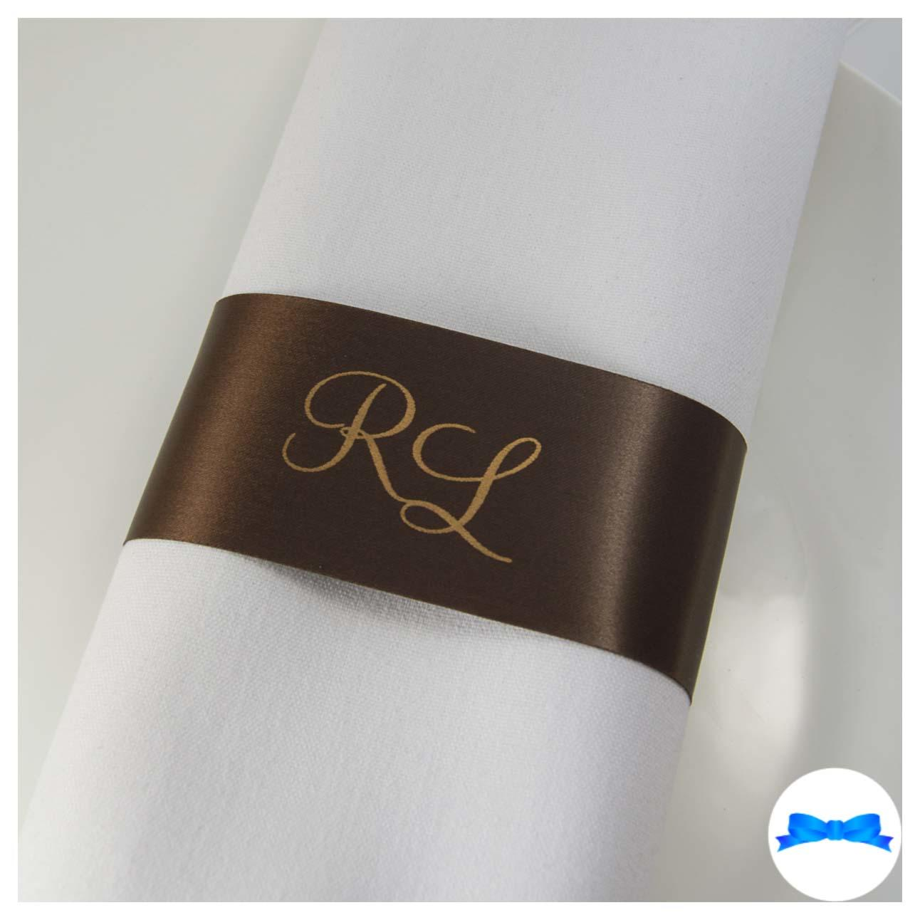Personalised Brown and gold Monogrammed Napkin Ring ribbons