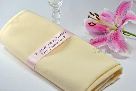Pink Wedding satin napkin ribbons