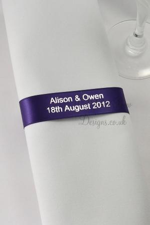 Purple and silver napkin ribbons