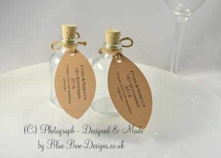 Kraft brown card leaf tags for mini bottles