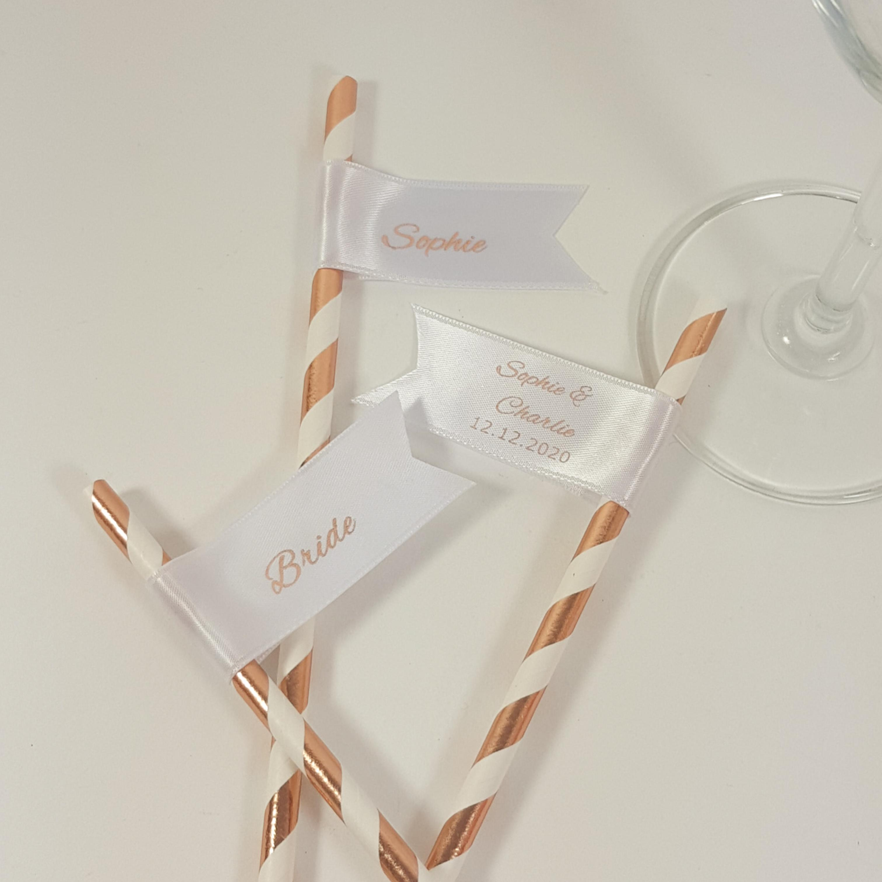 Personalised name straws rose gold