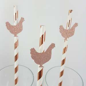 Rose gold glitter hen shaped straws