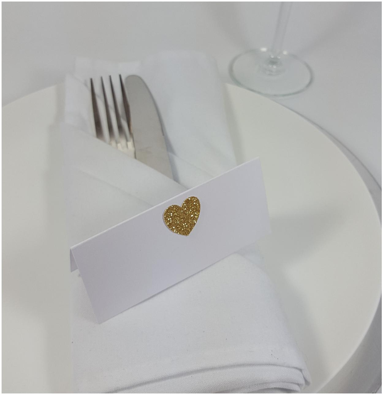 Glitter Heart Wedding Place Cards Printed Or Diy Blank Guest Place Setting Table Name Cards Dinner Party Anniversary Rose Gold Silver