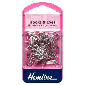 Hemline Extra Large Hooks & Eyes Nickel with packaging