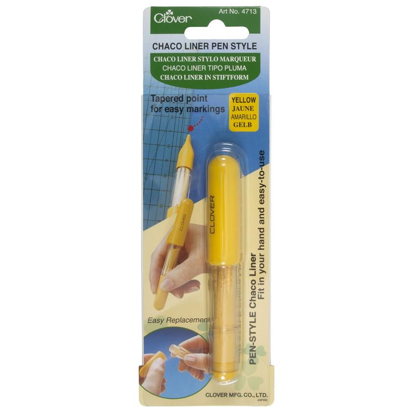 Clover Chaco Liner Pen Style Yellow in packaging