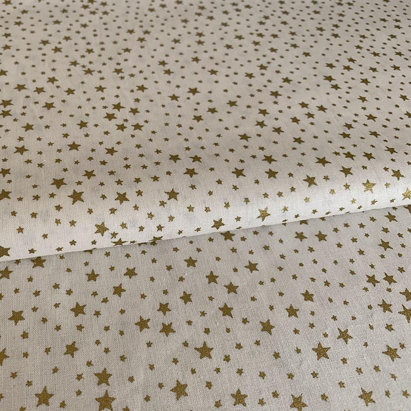 Christmas Fabric cream with gold stars