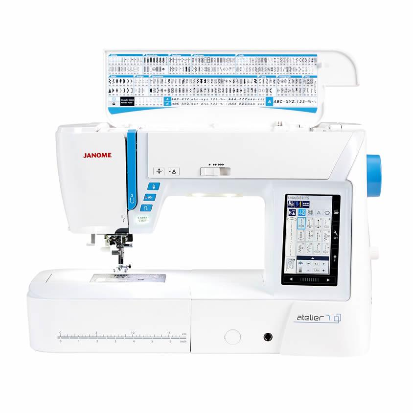 Janome Atelier 7 Sewing Machine with top open