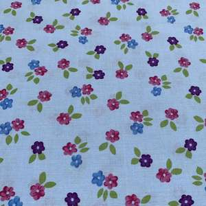 Pale Blue Fabric with Flowers