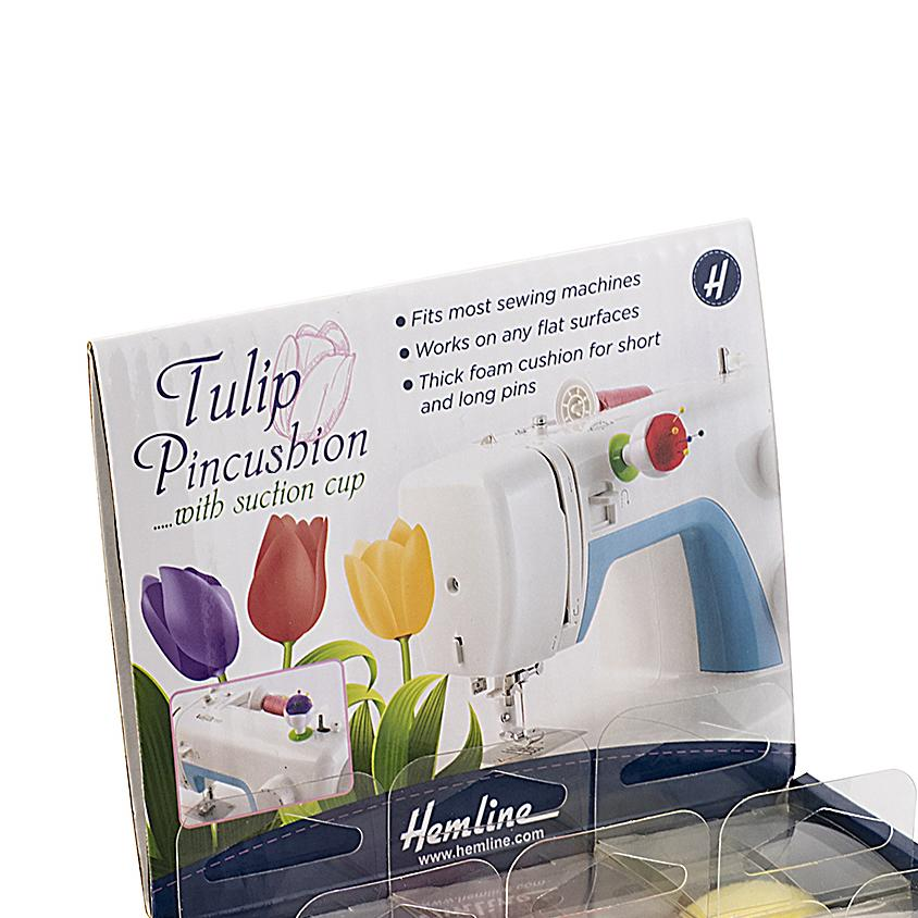 Hemline Tulip Pincushion on machine