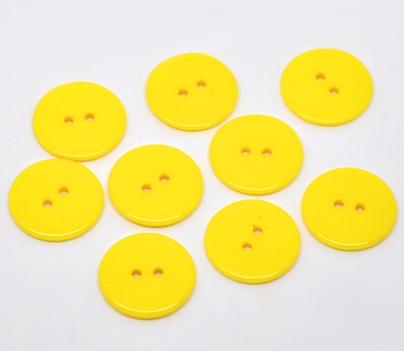 Yellow Daisy Shaped Button 2 Hole 23mm