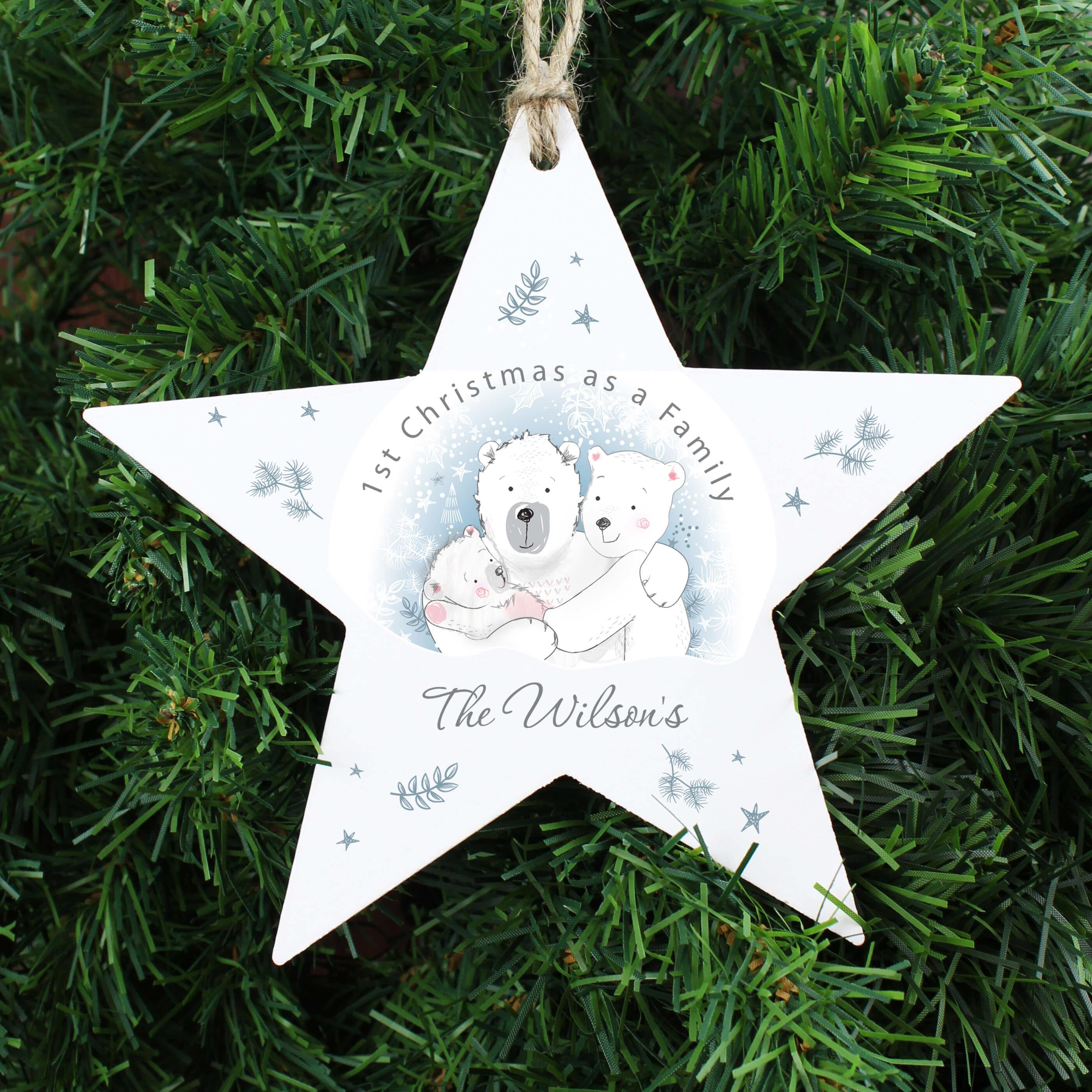 1st Christmas As A Family Personalised Wooden Star Christmas Tree Decoration Giftsmart Co Uk