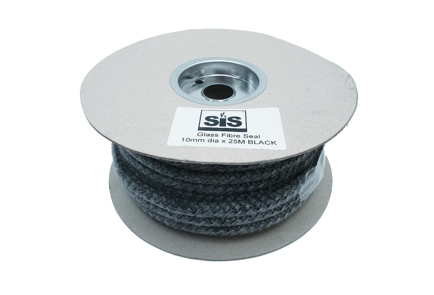 A 25 metre reel of black 10mm standard stove rope. - product code R1025b