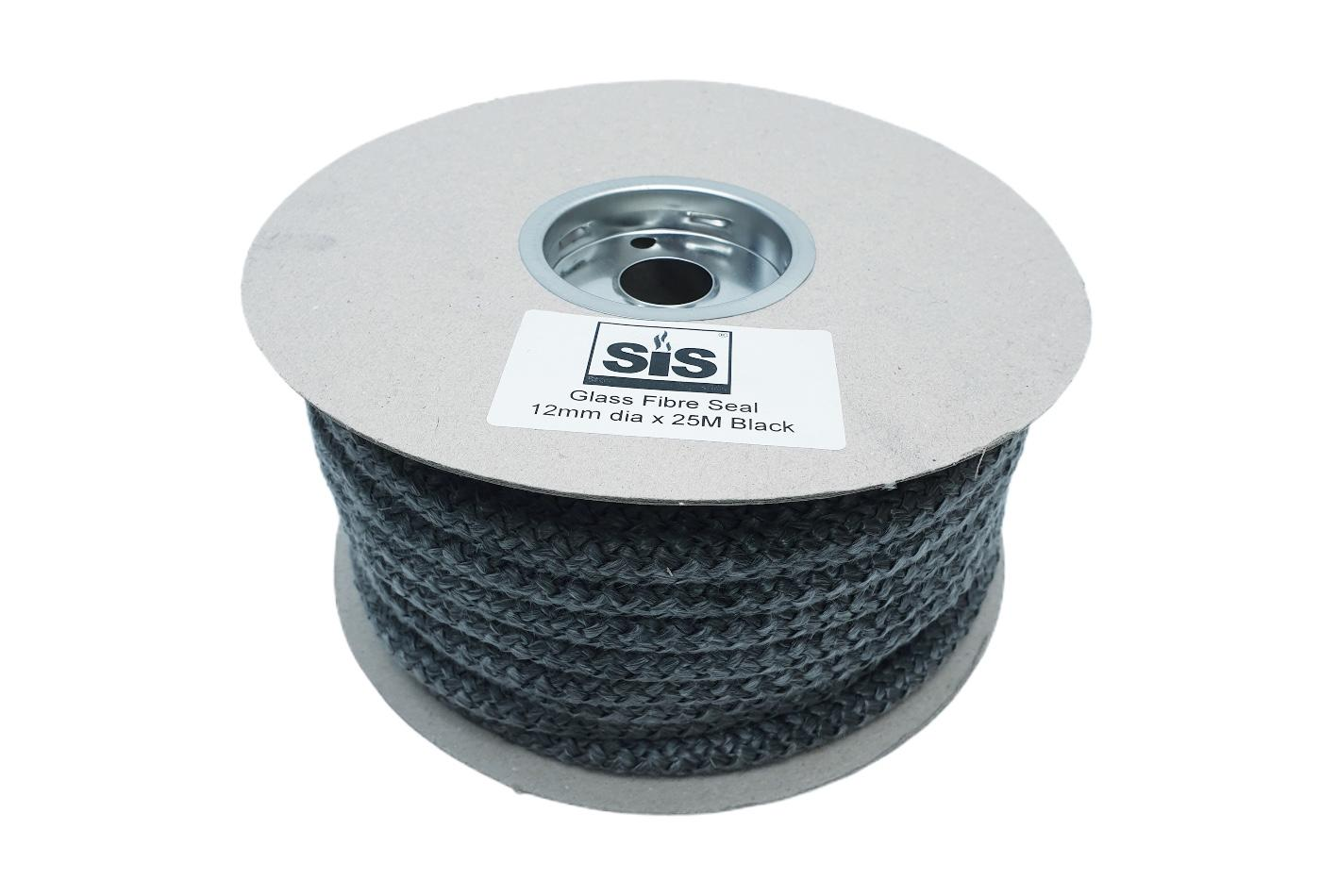 A 25 metre reel of Black 12mm standard stove rope - product code R1225b