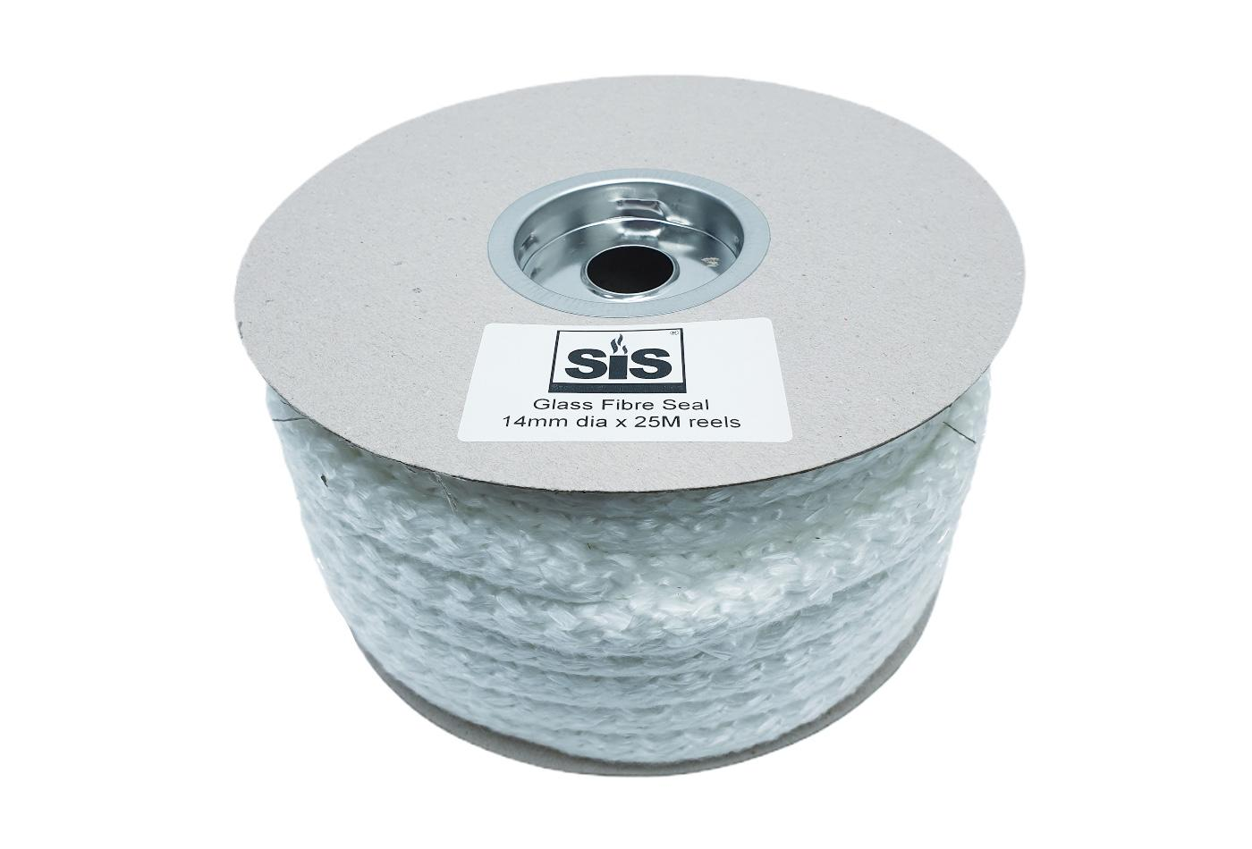 A 25 metre reel of white 14mm medium soft stove rope - product code RS1425